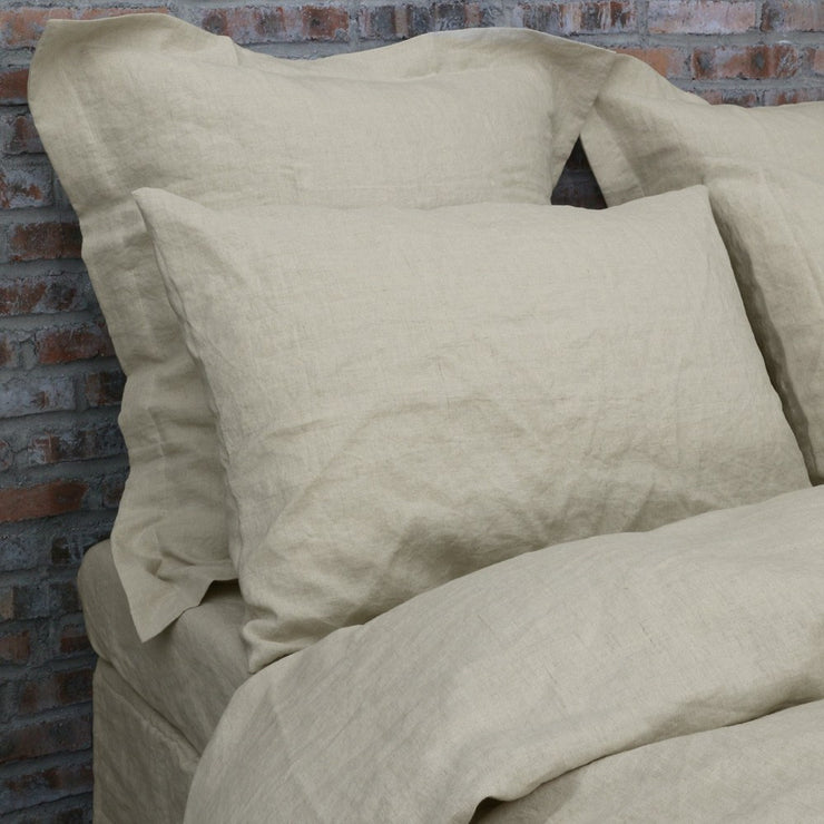 Set of Housewife and Flanged Pillowcases Natural