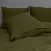 Soft Linen Pillowcases (set of 2) Green Olive