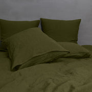 Green Olive Pillowcases Pair in Soft Washed Linen
