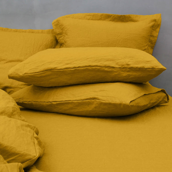 Housewife Linen Pillowcases Pair Mustard