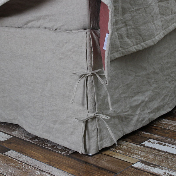 Knotted Bedskirt Natural Linen Undyed