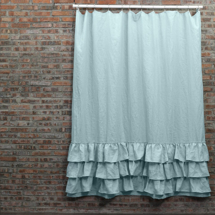 Ruffled Shower Linen Curtain in Icy Blue