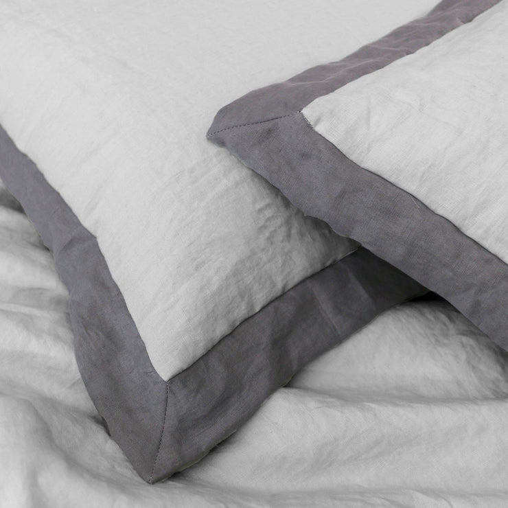 Oxford Border Linen Pillowcases in Stone Grey/ Lead Grey