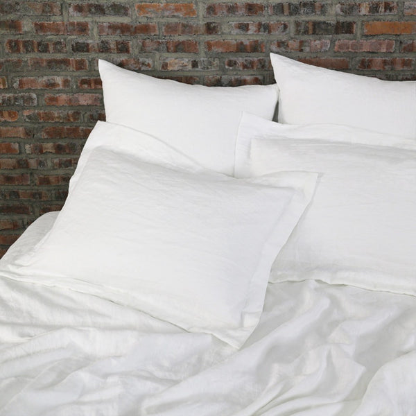 Flanged Linen Pillowcases( set of 2) White