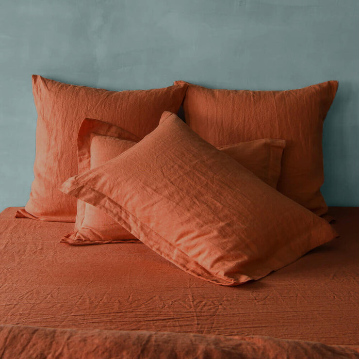 Flanged Linen Pillowcases Coral