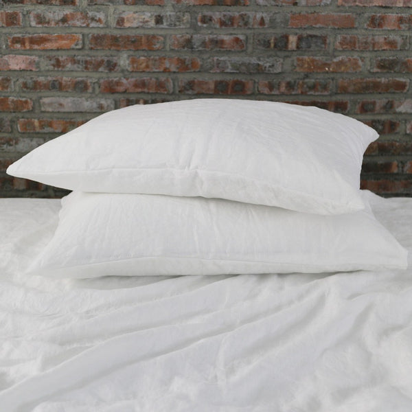 Soft Washed Linen Plain Pillowcases (set of 2) White