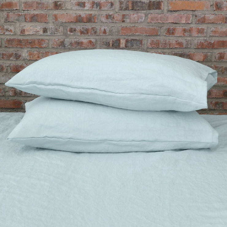 Soft Washed Linen Plain Pillowcases (set of 2) Icy Blue