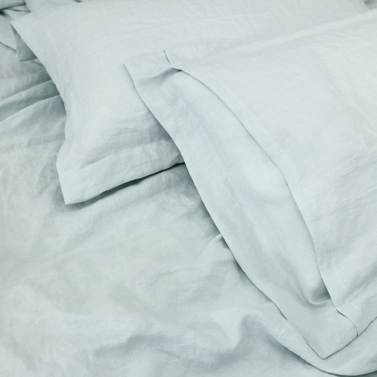 Linen Flanged Pillowcases Pair Icy Blue Back View