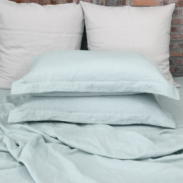 Linen Flanged Pillowcases Pair Icy Blue