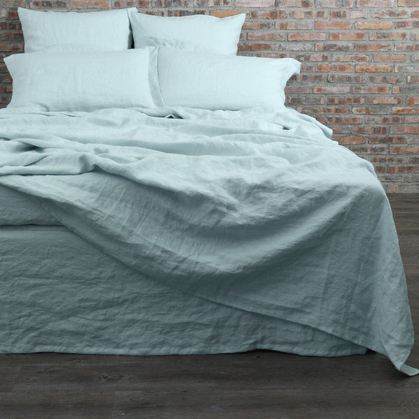 Washed Linen Flat Sheet with Matching Pillowcases