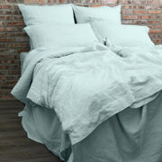 Soft Washed Linen Duvet Cover Icy Blue with Matching Pillowcases