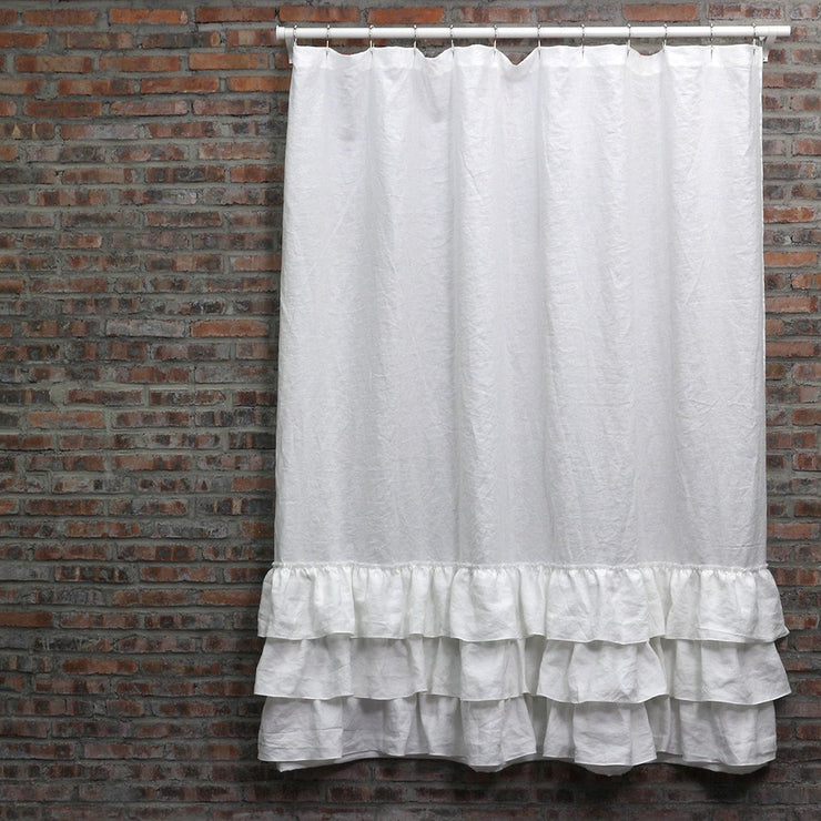 Ruffled Shower linen Curtain in Optic White