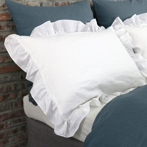 Optical White Ruffles Linen Pillowcases