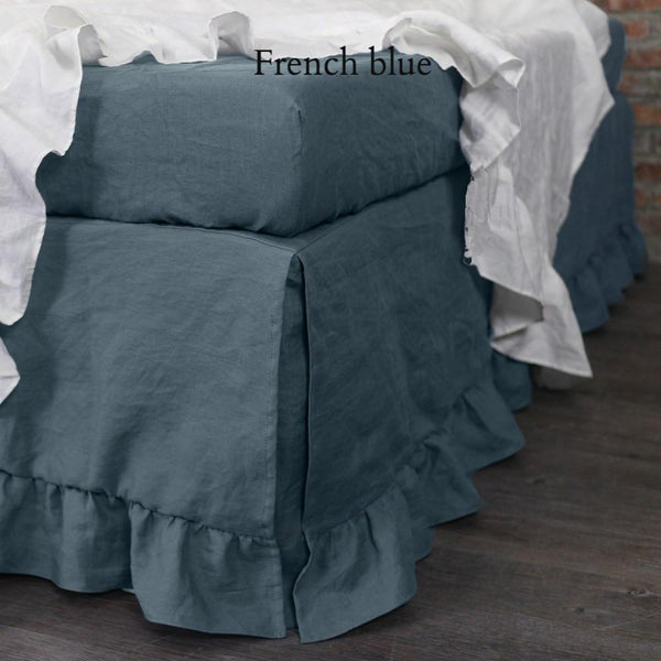 Ruffled Washed Linen Bedskirt French Blue