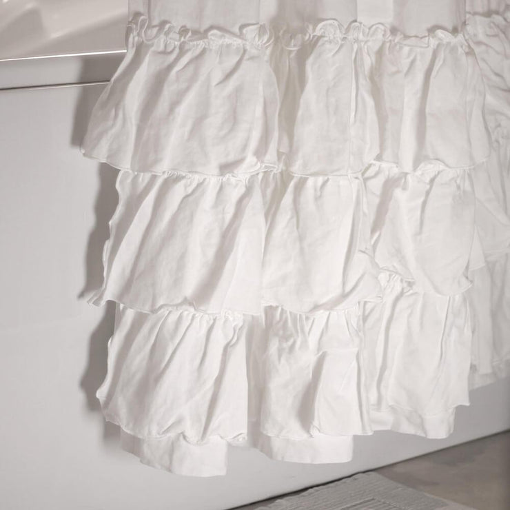 Linen Ruffles Shower Curtain Optic White Closeup - Linenshed