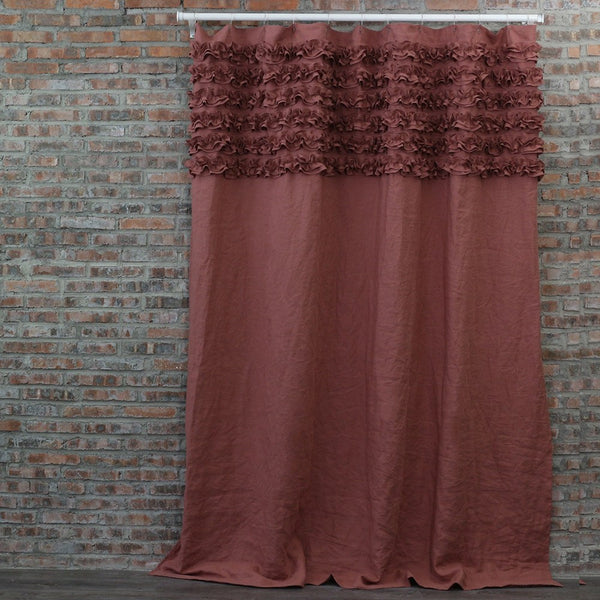 Shabby Chic Linen Shower Curtain Brick