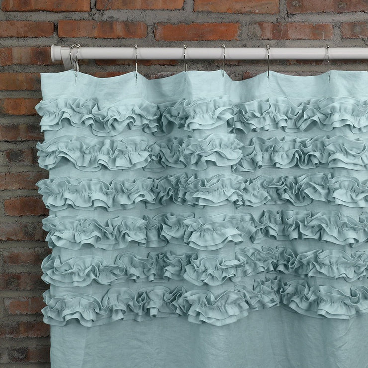 Shabby Chic Ruffle Washed Linen Shower Curtain Icy Blue