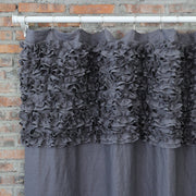 Shabby Chic Ruffle Washed Linen Shower Curtain Lead Gray