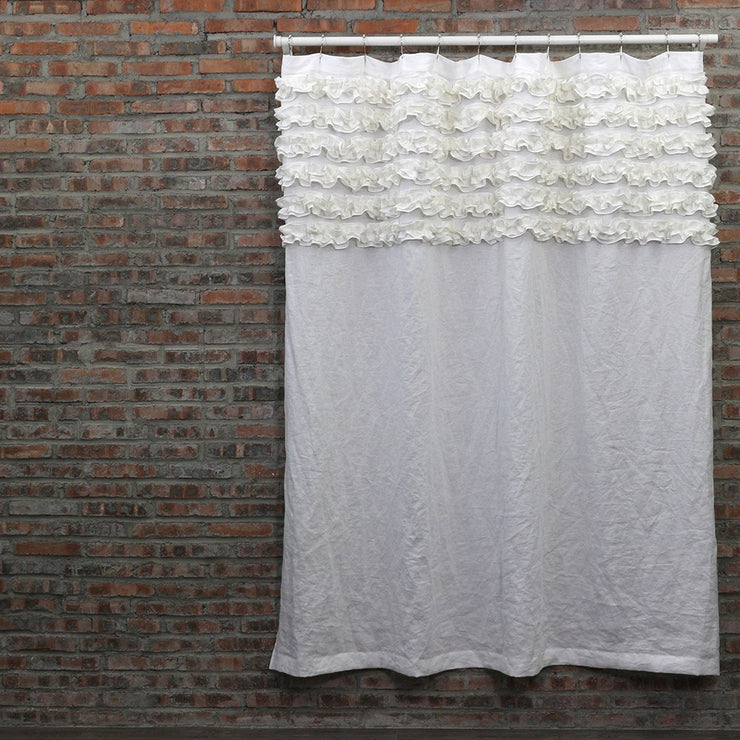 Ruffled Washed Linen Bath Curtain Optic White
