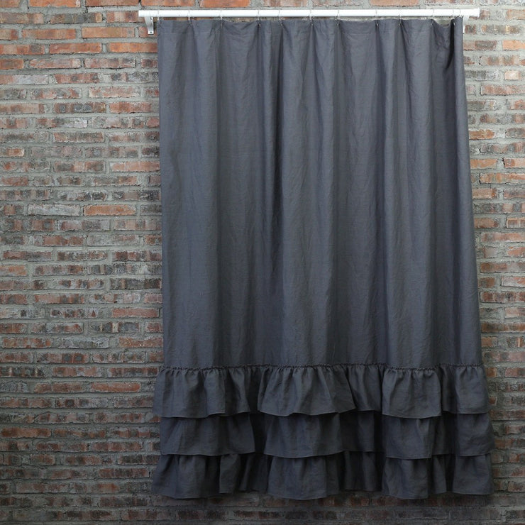 Ruffled Shower Curtain in Lead Gray
