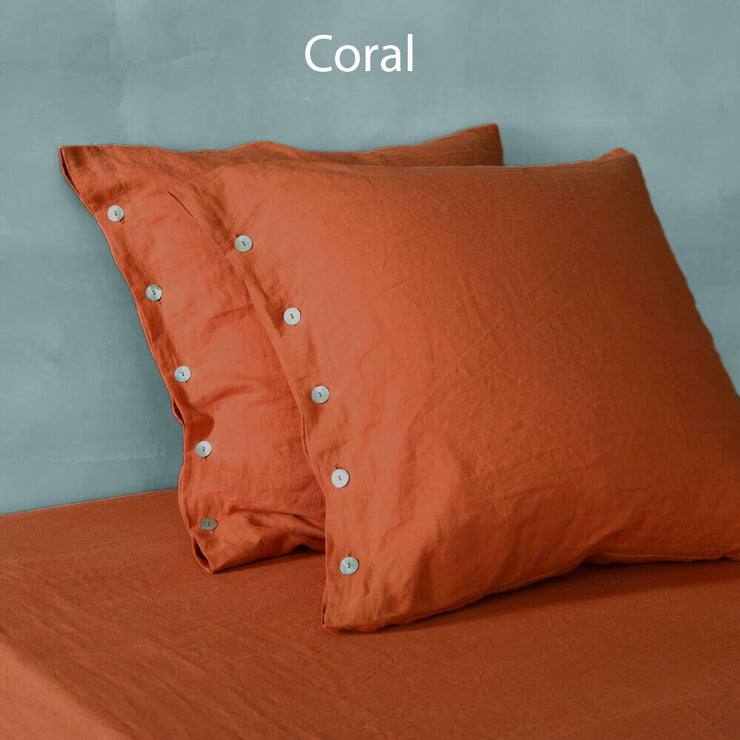Shell Buttoned Linen Pillowcases Coral