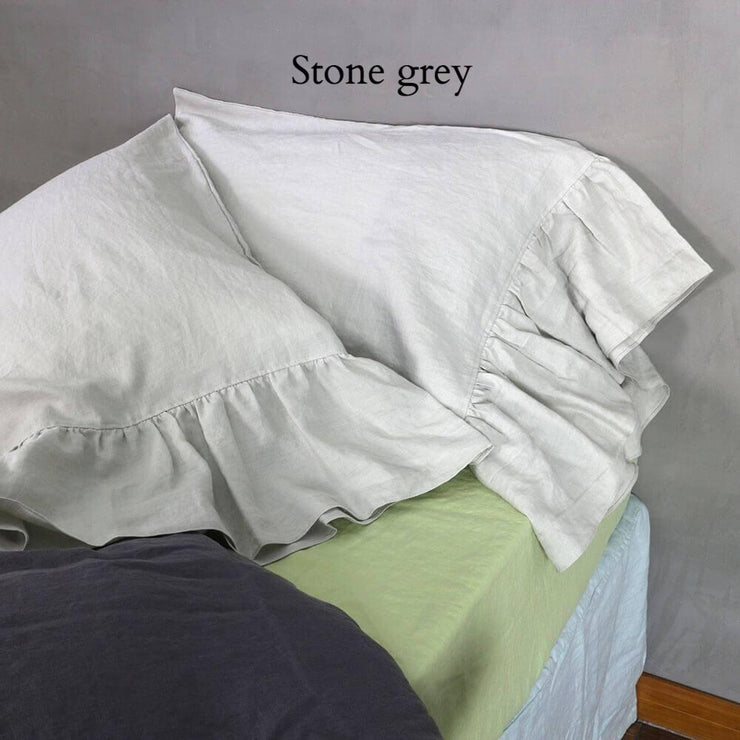 Side-Ruffle-Pillowcases-Set-Stone-Gray