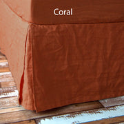 Split-Corner Linen Bed Skirt Coral