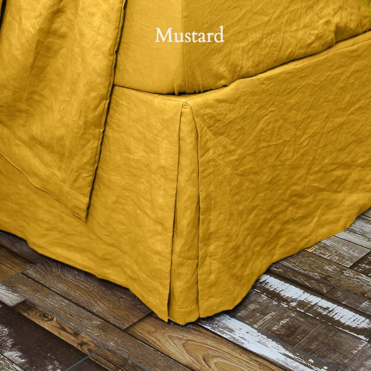 Split-Corner Linen Bed Skirt Mustard