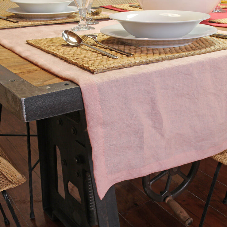 Mitered border Linen Table Runner Salmon