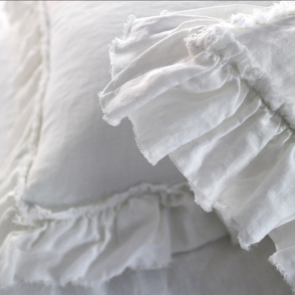 Pure Linen Pillowcases set with Frayed Ruffle