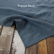 Mitered border Linen Table Runner French Blue