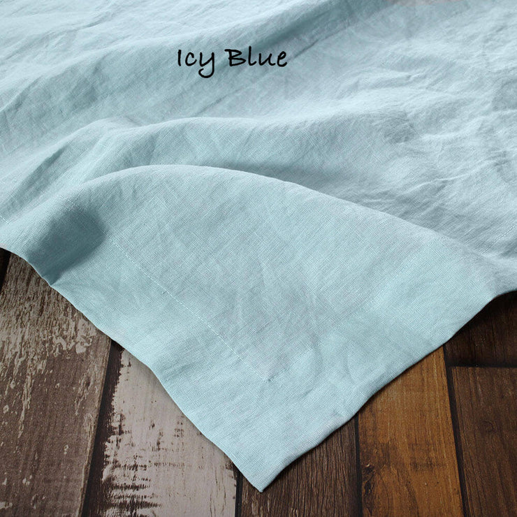 Rustic Linen TableCloth with Mitered Corners Icy Blue