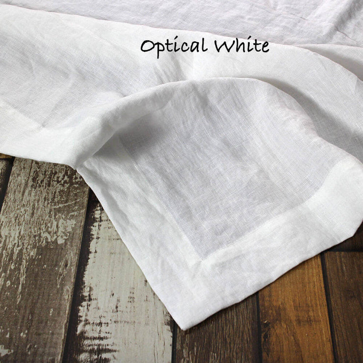 Mitered border Linen Table Runner Optic White