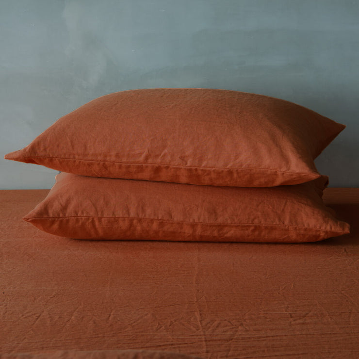 Housewife Linen Pillowcases Pair Coral