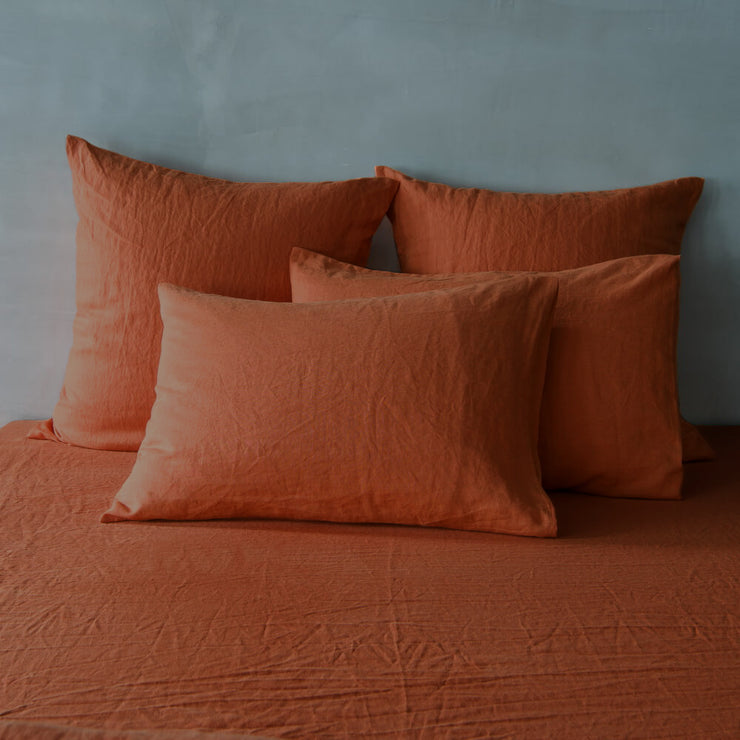Coral-colored Belgian Flax Linen Shams