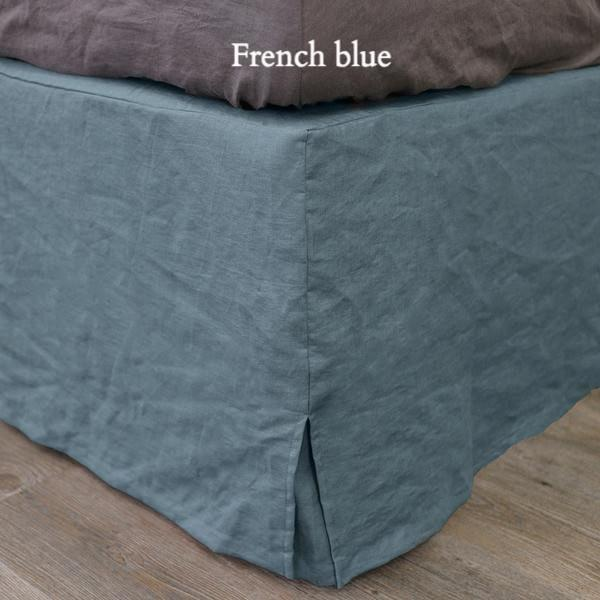 Slit-Corners Linen Bedskirt French Blue - Linenshed