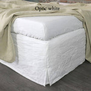 Slit-Corners Linen Bedskirt Optic white - Linenshed