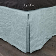 Split-Corner Linen Bed Skirt Icy Blue