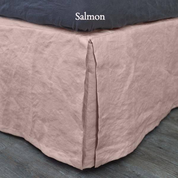 Split-Corner Linen Bed Skirt Salmon
