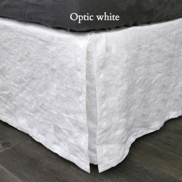 Split-Corner Linen Bed Skirt Optic White