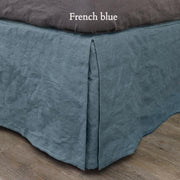 Split-Corner Linen Bed Skirt French Blue