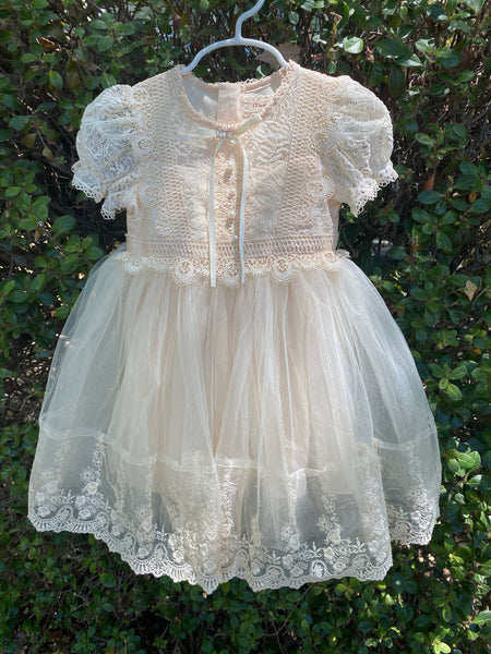 Cream Maya dress with lace/crochet details and tulle skirt