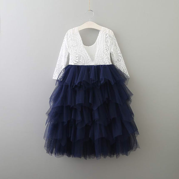 Long Audrey dress in navy