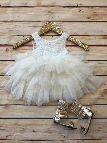 Audrey embellished dress in white/ivory