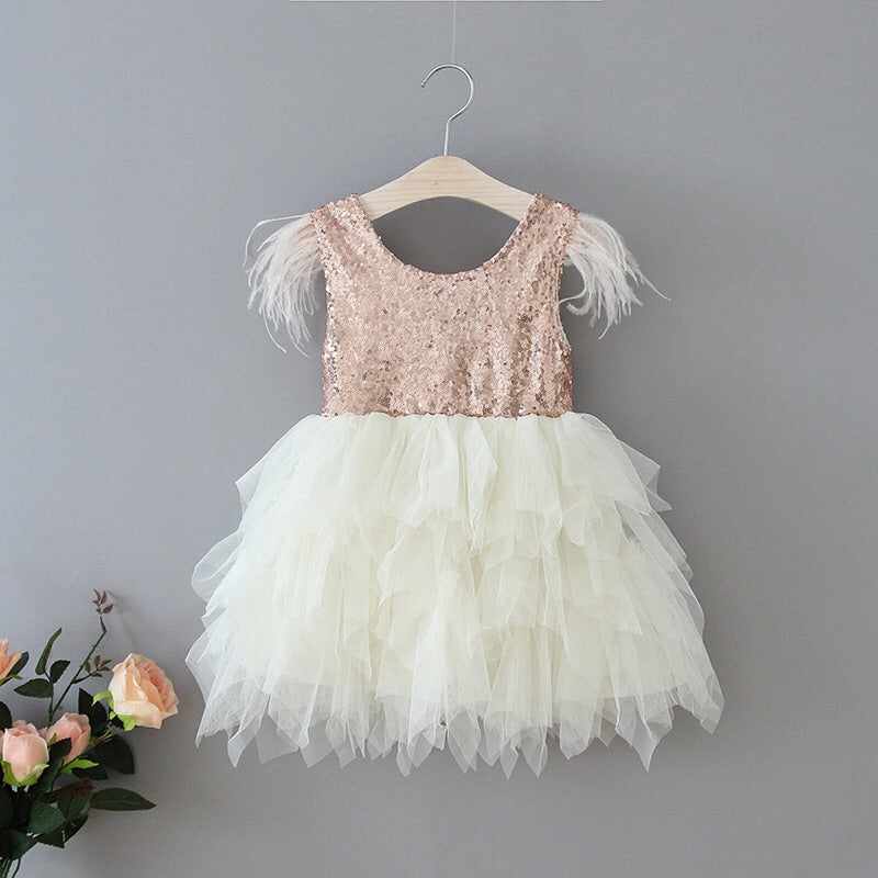 Aurelia sequined tulle dress in ivory/rose gold