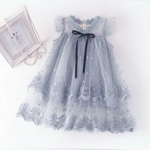 Aria tulle embroidered dress in blue