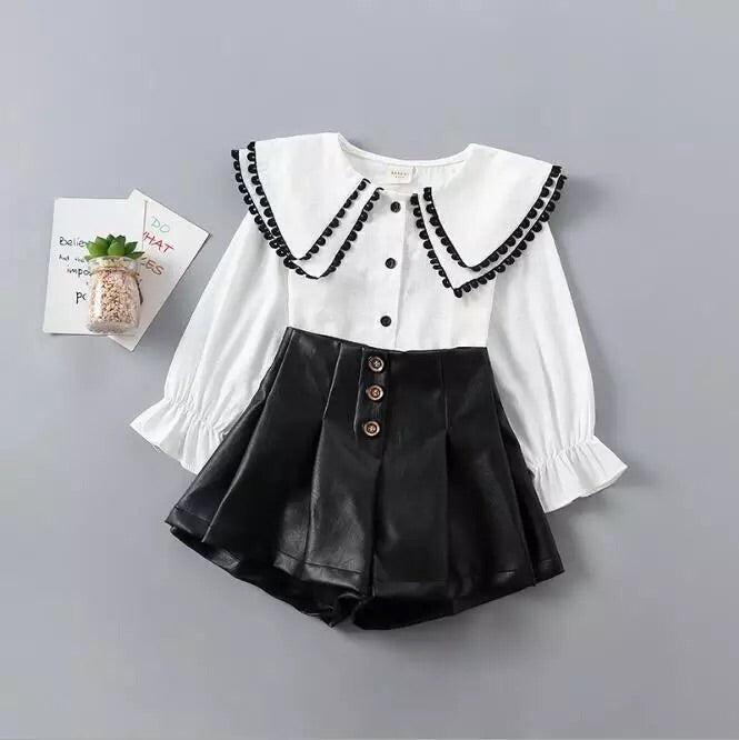 Ivy blouse and high waisted shirt set in white/black