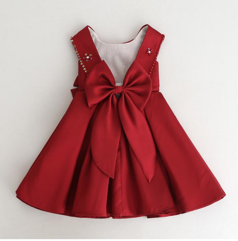 Caroline dress in dark red