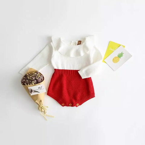 Stella crochet romper in red