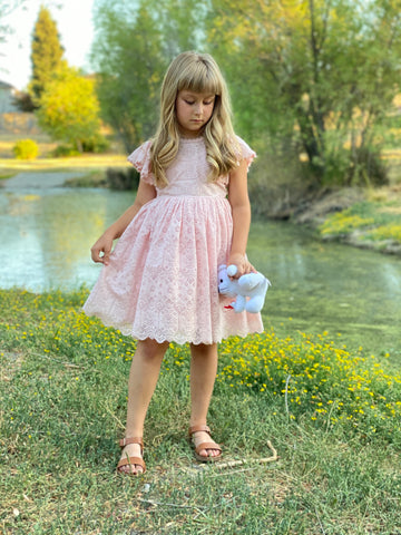 Pink Lelia lace/eyelet flower girl birthday dress